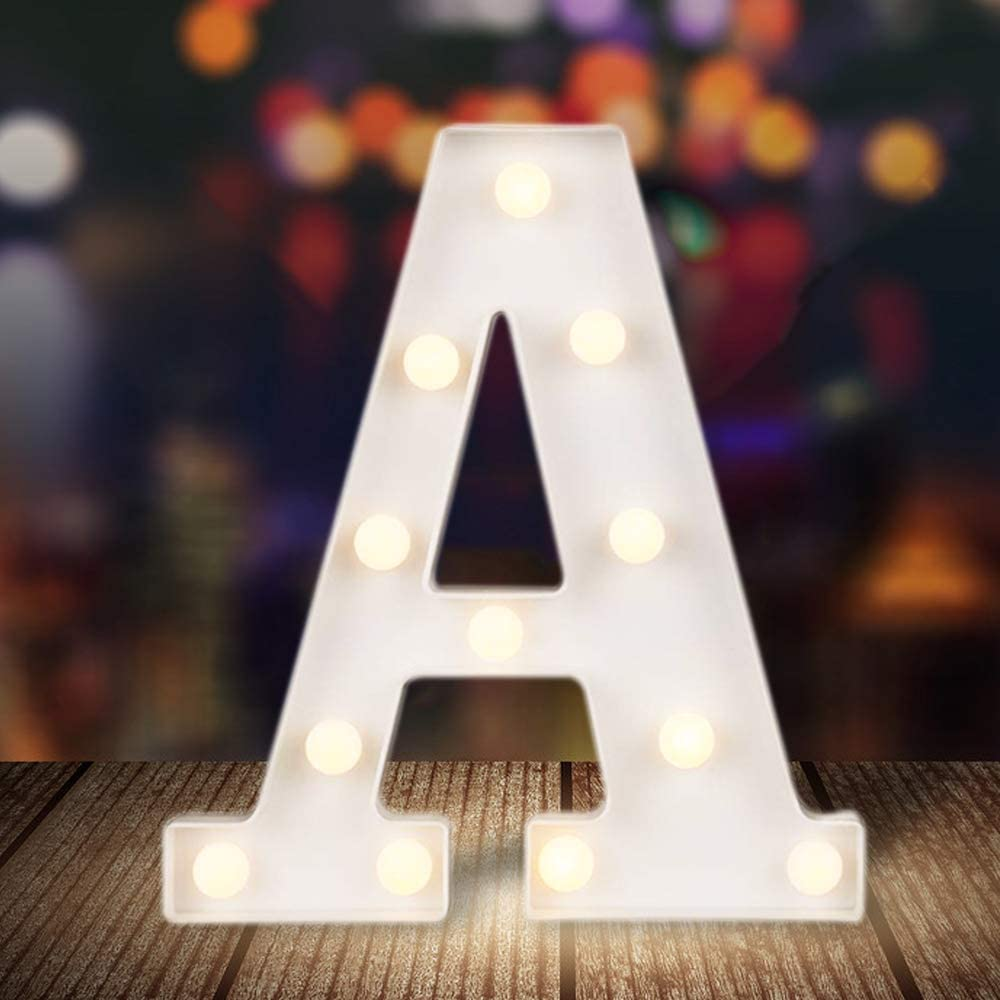ODISTAR LED Light Up Marquee Letters, Battery Powered Sign Letter 26 Alphabet with Lights for Wedding Engagement Birthday Party Table Decoration bar Christmas Night Home,9'', White(A)