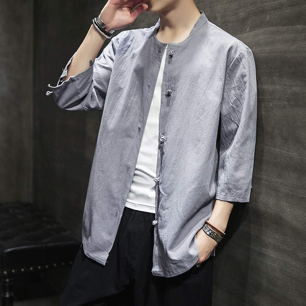 willsa Casual Business Striped Plaid Mens Summer Vintage Casual Pure Color Linen Three Quarter Sleeve Shirts Tops