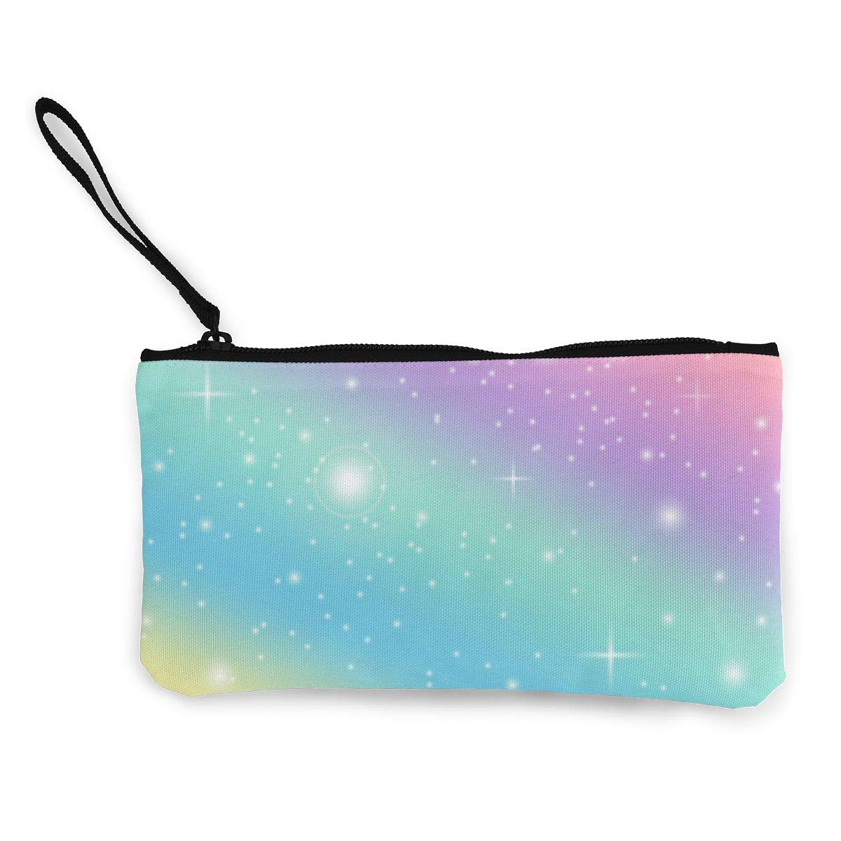 TR7FD15DE Rainbow Zipper Canvas Coin Purse Wallet Make Up Bag Cellphone Bag With Handle