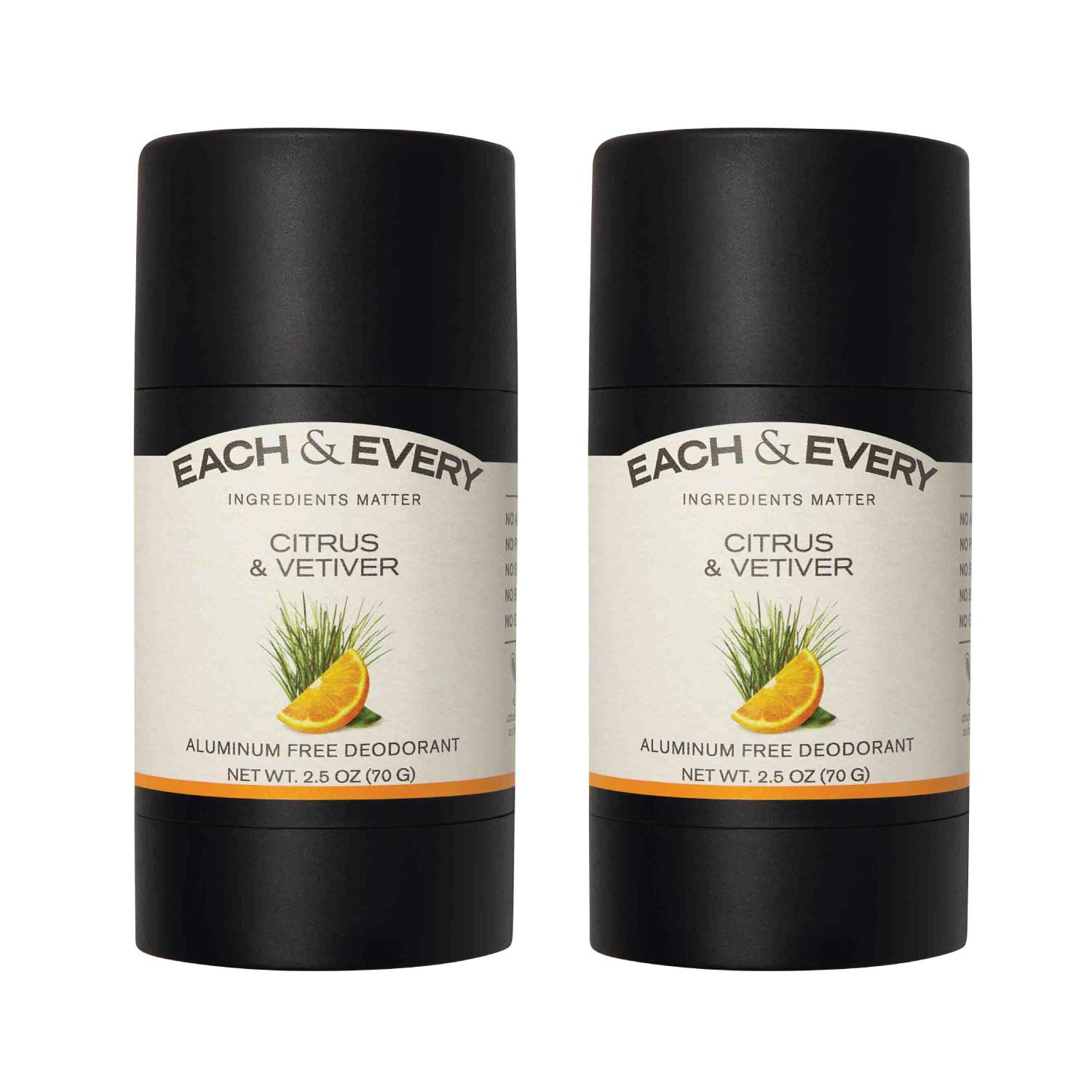 Each & Every 2-Pack Natural Aluminum-Free Deodorant for Sensitive Skin with Essential Oils, Plant-Based Packaging, Citrus & Vetiver, 2.5 Oz.