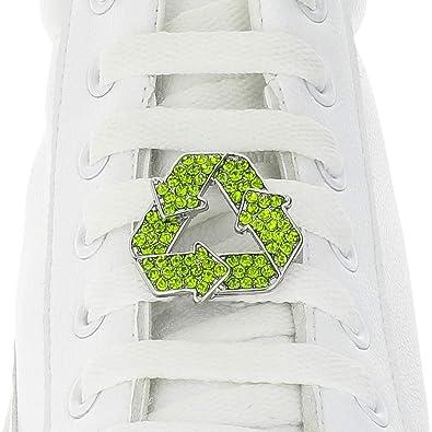 Charm per lacci delle scarpe, simbolo del riciclo, targhetta