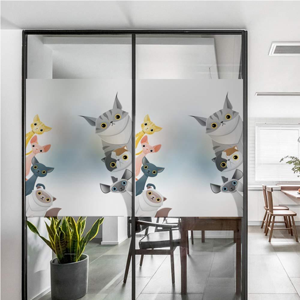 60 x autocollant de pare-soleil r/éutilisable porte coulissante pour fen/être et fen/être protection UV film statique de vitre pour chat de dessin anim/é chat MDD Autocollant de vitre /écran solaire