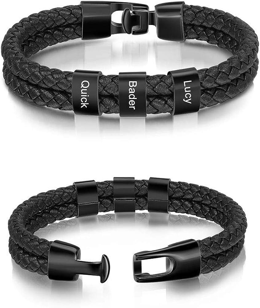 LanM Personalized Men Black Braid Bracelet Custom Bracelet for Men with Small Custom Beads Men's ID Bracelet