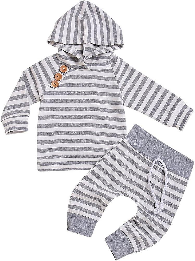 Newborn Baby Boys Girls Hooded Sweatshirt T-Shirt Tops+Striped Pants Kids Outfits Clothes Set