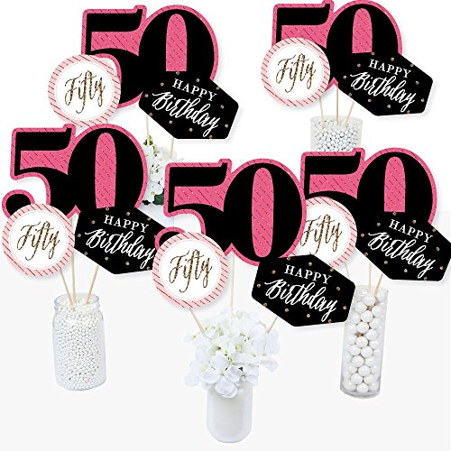 Birthday Centerpiece Table Party (Chic 50th Birthday - Pink, Black and Gold - Birthday Party Centerpiece Sticks - Table Toppers - Set of 15)