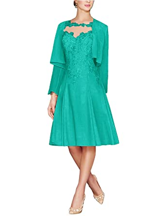 cdb06be514b71 APXPF Women's Tea Length Lace Chiffon Mother of The Bride Dresses Two  Pieces with Jacket Aqua
