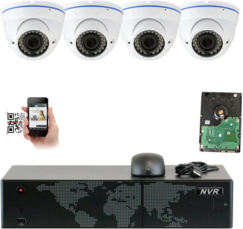 GW Security 8 Channel 4K NVR 5MP 1920p Network Security Camera System – 4 x HD 5MP 1080P 2.8 12mm Varifocal Zoom Weatherproof Dome PoE IP Camera