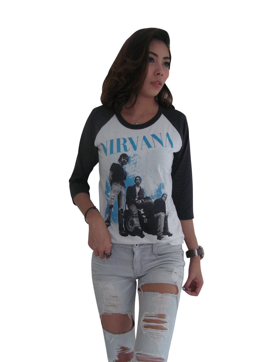 Bunny Brand Women's Rock Band Nirvana Kurt Cobain Group photo Music Raglan T-Shirt,Medium