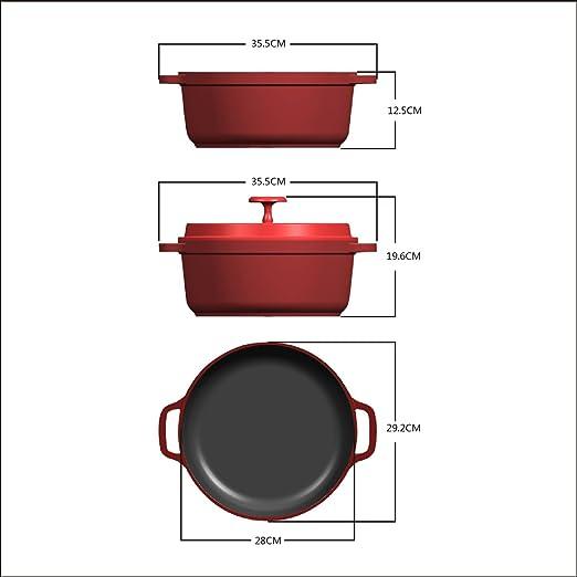 Rossetto olla redonda 28 cm rojo, aluminio fundido, revestimiento aspecto de piedra, inducción, ligero: Amazon.es: Hogar