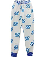 TOOGOO(R) Unisex Emoji Printing Pretty 3D Sweatpants Joggers Sweatshirt Pants-L(White and blue)