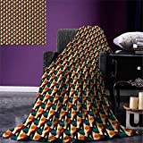 Abstract Digital Printing Blanket Retro Polygonal Composition with Vivid Mesh Futuristic Design Technology Theme Summer Quilt Comforter 80''x60'' Multicolor