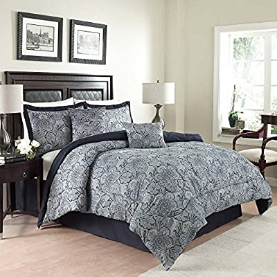 """Traditions By Waverly 14413BEDDQUEPOR Paddock Shawl Comforter Set, Full/Queen, Porcelain, 6 Piece - Queen set measures 88"""" x 88"""" with two 20"""" x 26"""" pillow shams and a 60"""" x 80"""" bed skirt with a 15"""" drop Comforter, shams and bed skirt are machine washable Pillows are spot clean only - comforter-sets, bedroom-sheets-comforters, bedroom - 61RWEYinJCL. SS400  -"""