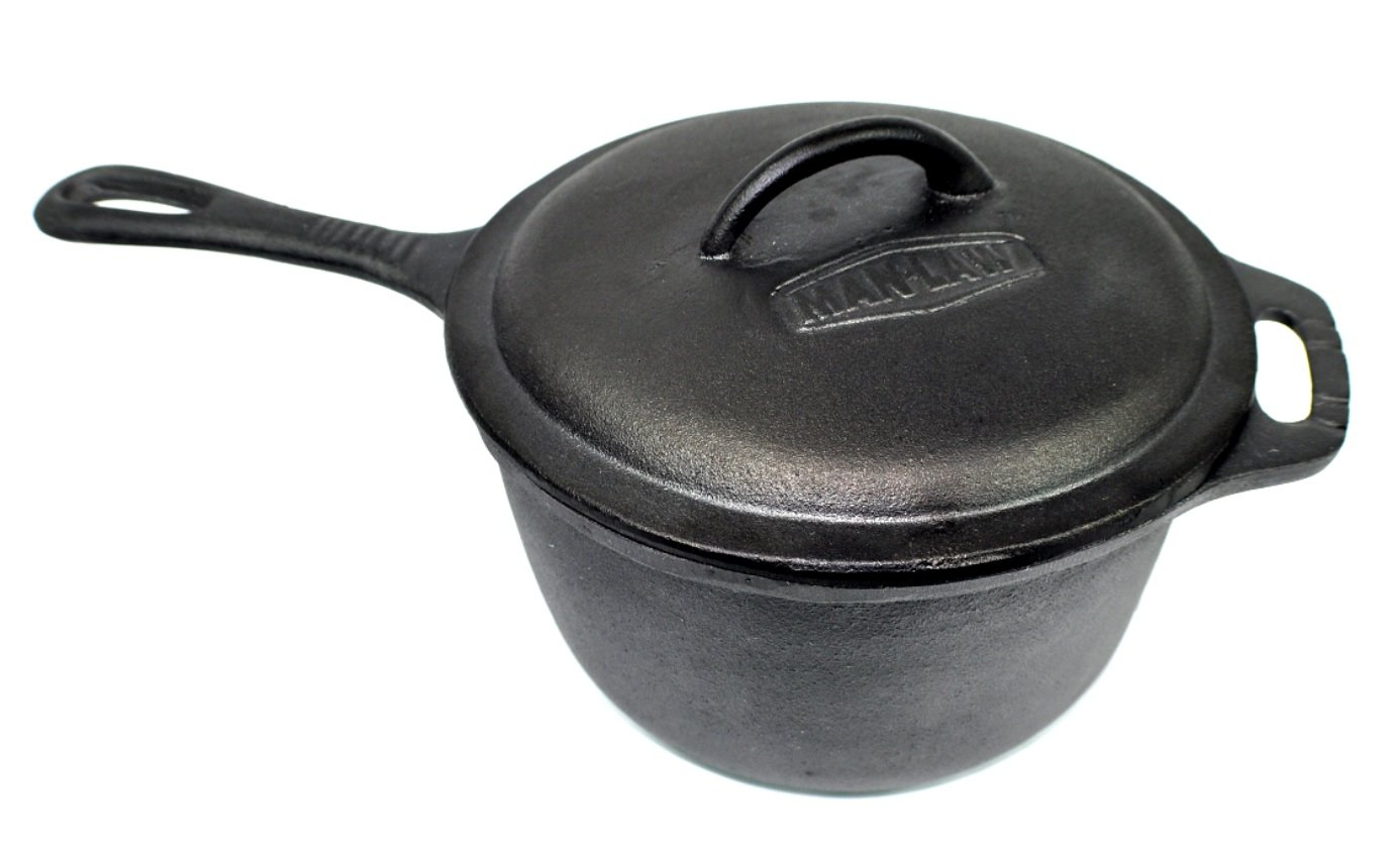 Man Law BBQ Products MAN-CP1 Cast Iron Series 3 Quart Pot with Lid, One Size, Black