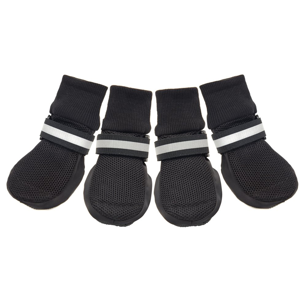 HiPaw Breathable Mesh Dog Boots for Smmer Hot Pavement Nonslip Rubber Sole Paw Protector Black M