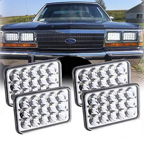 4Pcs 60W Philips Chips 4x6 inch LED Headlight Rectangular Replacement H4651 H4652 H4656 H4666 H6545 for Peterbil Kenworth Freightinger Ford Probe Chevrolet Oldsmobile Cutlass 4Pcs (Chassis F53)
