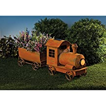 Bits and Pieces - Vintage Solar Train Planter - Rustic Looking Metal Sculpture - Solar Powered LED Spotlight