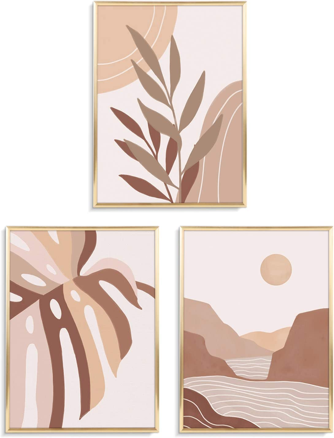 ArtbyHannah 3 Pack 12x16 Inch Mid Century Framed Canvas Wall Art Decor with Gold Frames and Decorative Tropical Botanical Plant Pictures Canvas Prints for Home Decor, Ready to Hang
