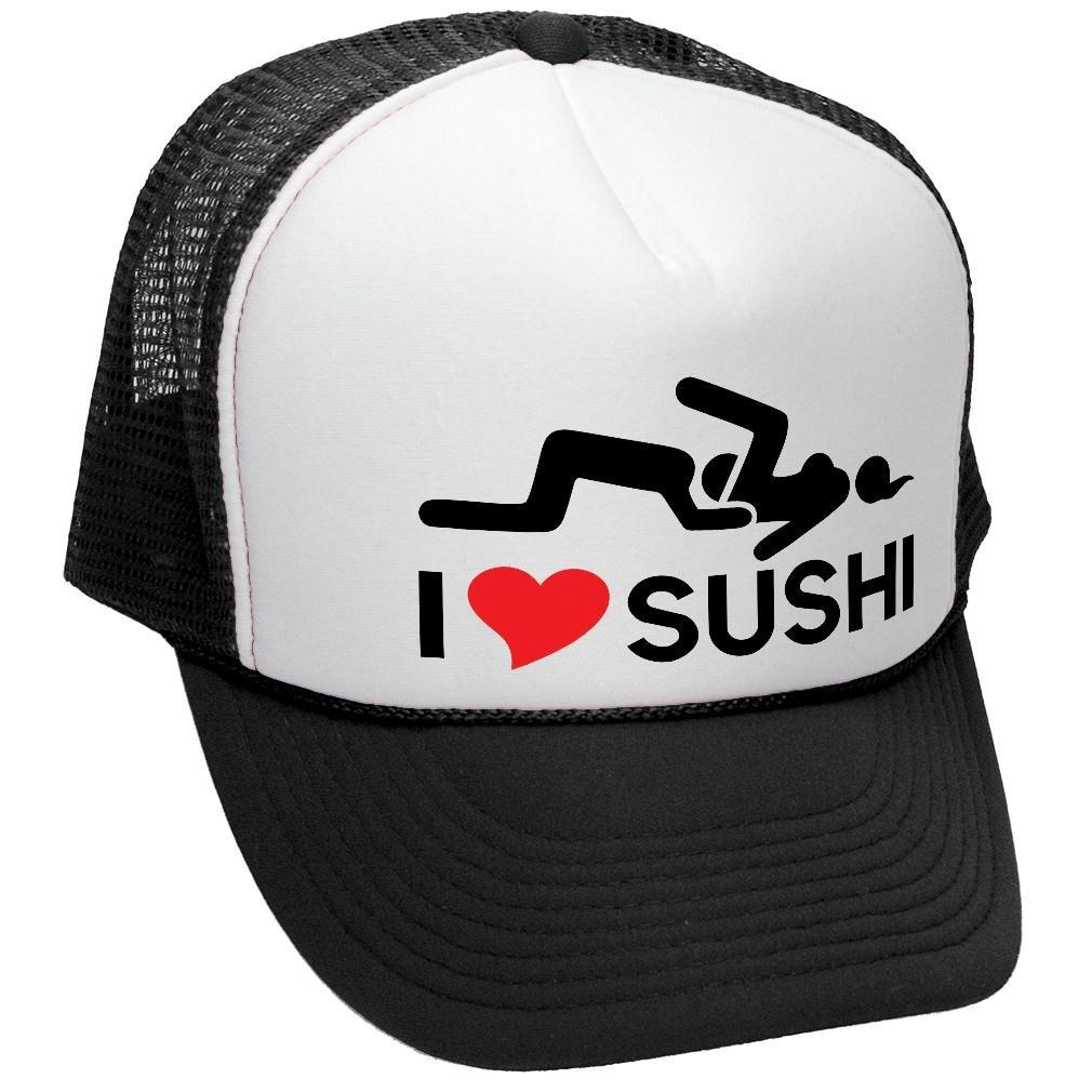 a3ed767fd0401 Amazon.com  The Goozler I Heart Sushi - Vulgar Rude Innuendo Meme - Adult Trucker  Cap Hat