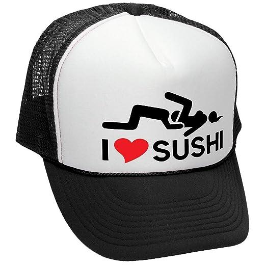 The Goozler I Heart Sushi - Vulgar Rude Innuendo Meme - Adult Trucker Cap  Hat