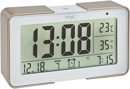 TFA Dostmann 60.2540.53 Melody Réveil sans Fil avec différentes sonneries (mélodies, Alarme), 14 x 4 x 8 cm, BlancChampagne, Plastique