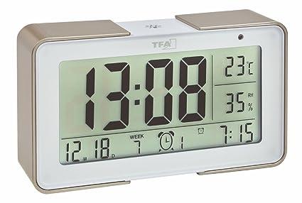 TFA Dostmann 60.2540 Despertador electrónico Melody con diferentes tonos de alarma (Champán con baterías)