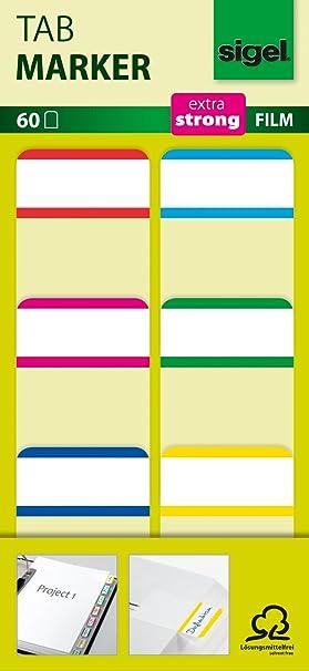 Sigel HN201 HN201 Marcapáginas adehesivos y rigidos, cinta de filme transparente extra fuerte, 60 tiras de 25 x 38 mm, 6 colores: Amazon.es: Oficina y ...