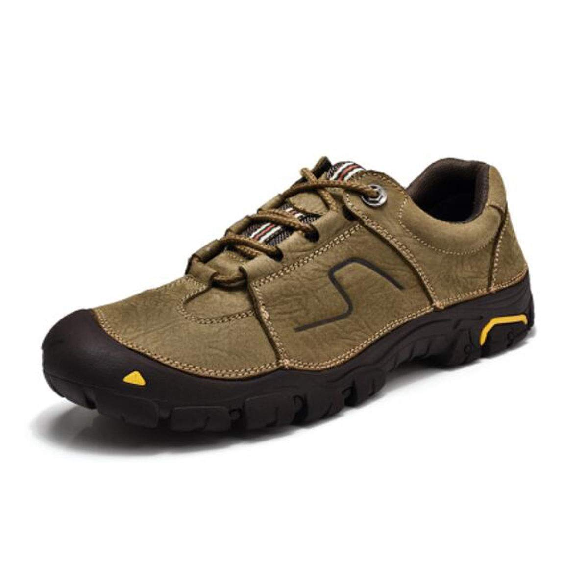 Kaki Jiansheng Chaussures en Cuir, Chaussures de Sport pour Hommes, Chaussures de Travail, Sports de Plein air, Chaussures de randonnée Anti-Collision, Noir, Kaki (37-45) 39 EU