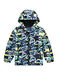 Achiyi Baby Boys Windproof Waterproof Jacket Hooded Cool Prints Zip Outwear Lightweight Kids Warm Fleece Windbreaker Outfit