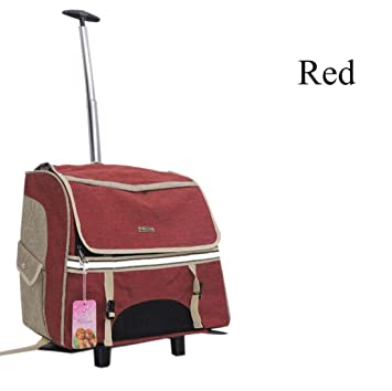 transportin carrito perro trolley Portable Removable mochila perro pequeño 600D Oxford , Red