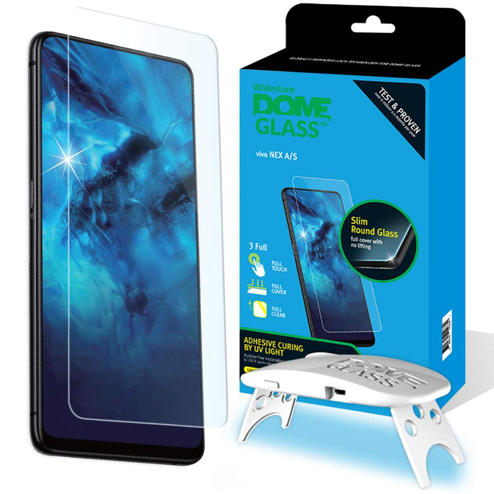 Dome Glass VIVO NEX A/S Screen Protector Tempered Glass, Full Cover Screen Shield [Liquid Dispersion Tech] Easy Install Kit by Whitestone for VIVO Nex A or S (2018) - 1 Pack