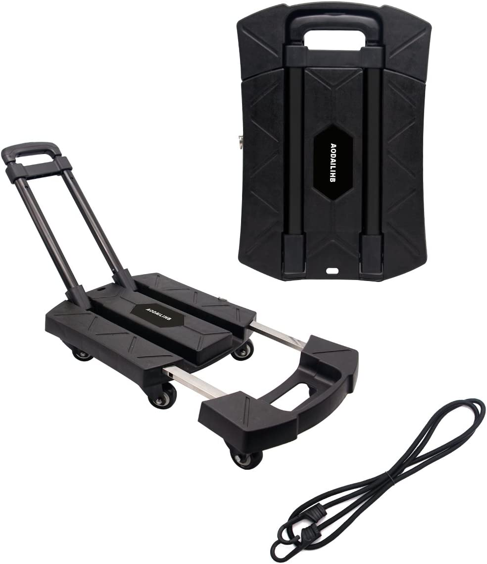 AODAILIHB Portable Folding Luggage Cart 360 Rotate Wheels Load 440 pounds Black