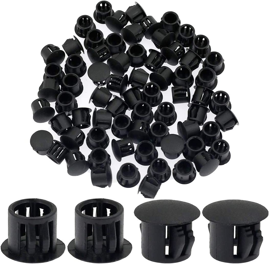 "Suiwotin 60PCS 10mm (3/8"") Black Hole Plugs Plastic Flush Type Hole Plugs Snap in Locking Hole Tube, Furniture Fencing Post Pipe Insert End Caps (Black)"