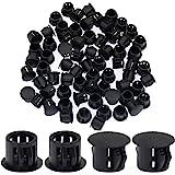 "Suiwotin 60PCS 10mm (3/8"") Black Hole Plugs Plastic Flush Type Hole Plugs Snap in Locking Hole Tube, Furniture Fencing Post P"