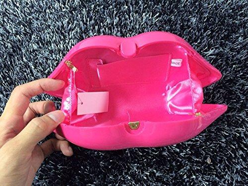 Zarapack da donna in acrilico 3D sexy labbro rosso borsa da sera party clutch Crossbody spalla Borsa Pink