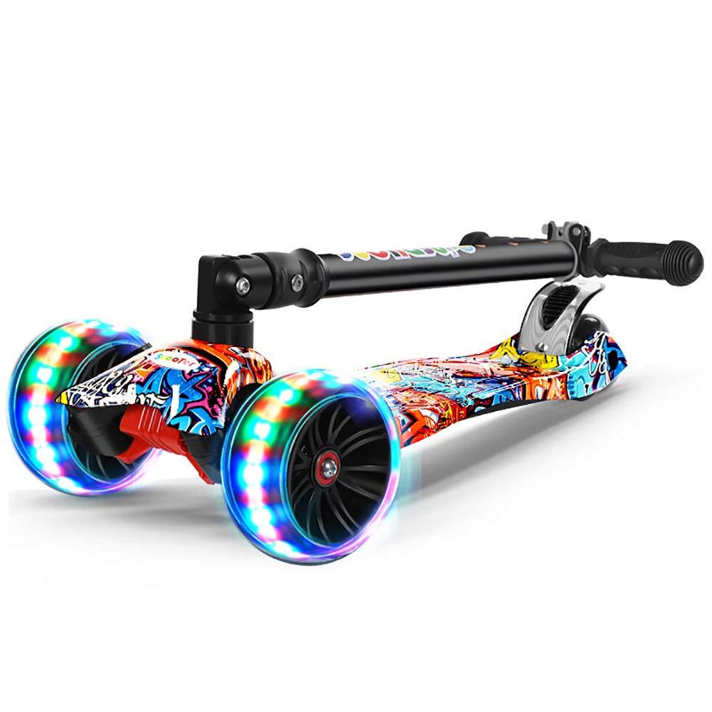 キックボード本体 折りたたみキッズスクーター2-8歳、調整可能なTバー超大型フラッシングホイールスクーターボード、80kgの負荷、非電気