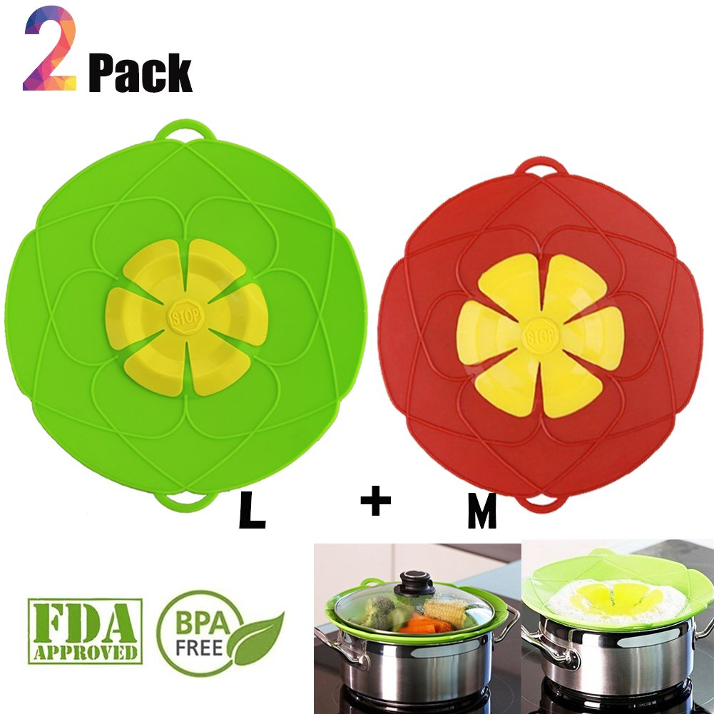Spill Stopper Lid Cover Boil Over Safeguard,Silicone Spill Stopper Pot Pan Lid Splatter Guard Screens Steam Rack Pot Holder, Multi-Function Kitchen Cooking Tool Torero X