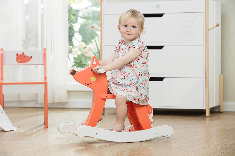 H/ölzernes Schaukelspielzeug M/ädchen und Jungen Wei/ß HONNIEKIS Schaukeltier f/ür Baby 1-3 Jahr