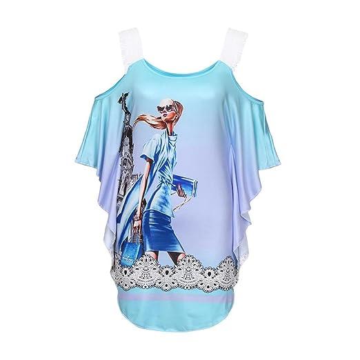 8e0ad1a15a8 Oksale Women's Girl Print Lace Cold Shoulder Tops O Neck Loose Blouses T  Shirt (Blue