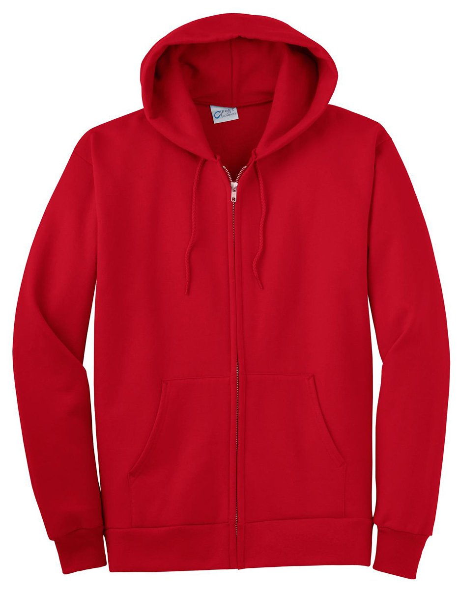 Port & Company Men's Big And Tall Full-Zip Hooded Sweatshirt Red