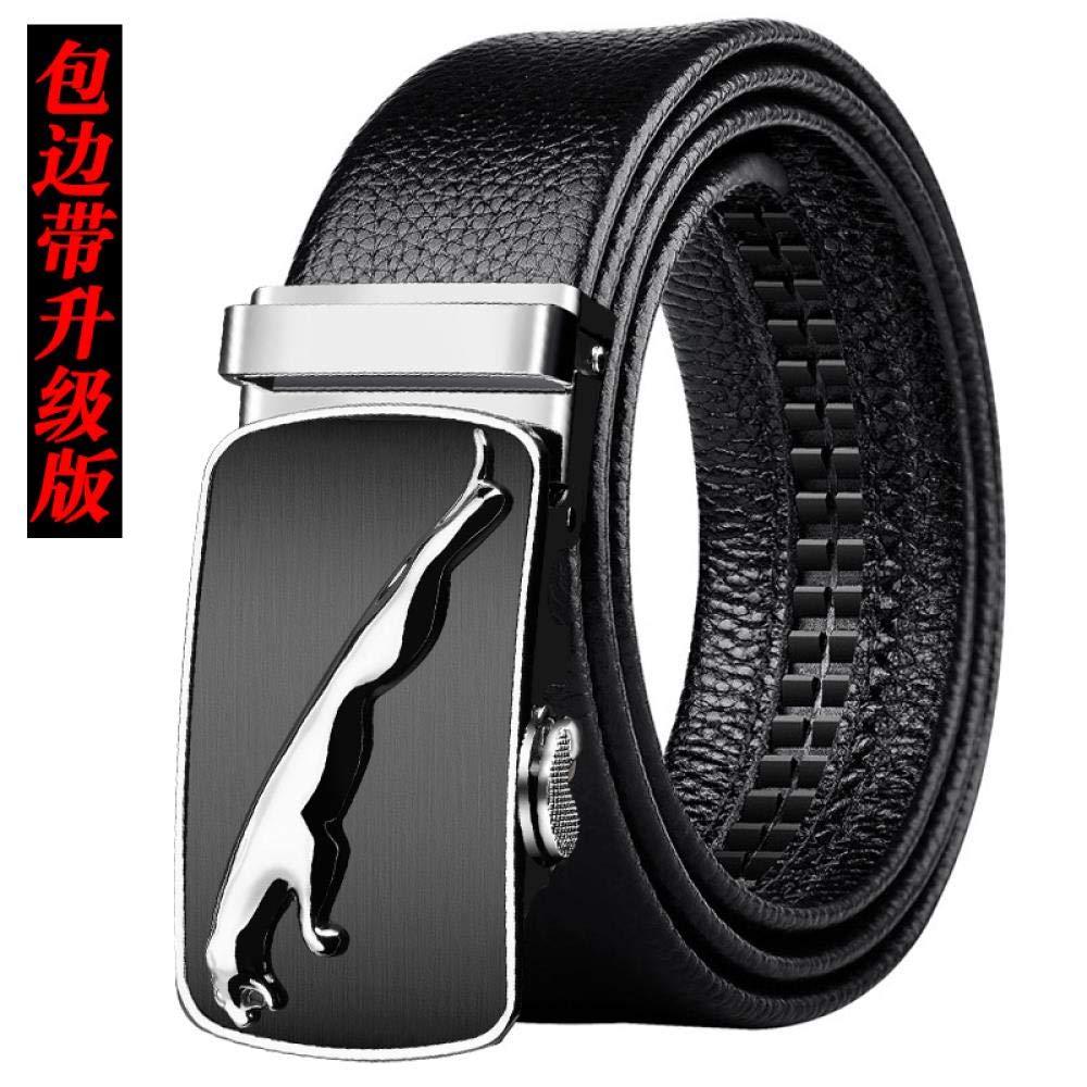 Men's Belt Men's automatic buckle belt Black trousers belt soft 340-Silver Button Black Side Band-Upgraded 120cm