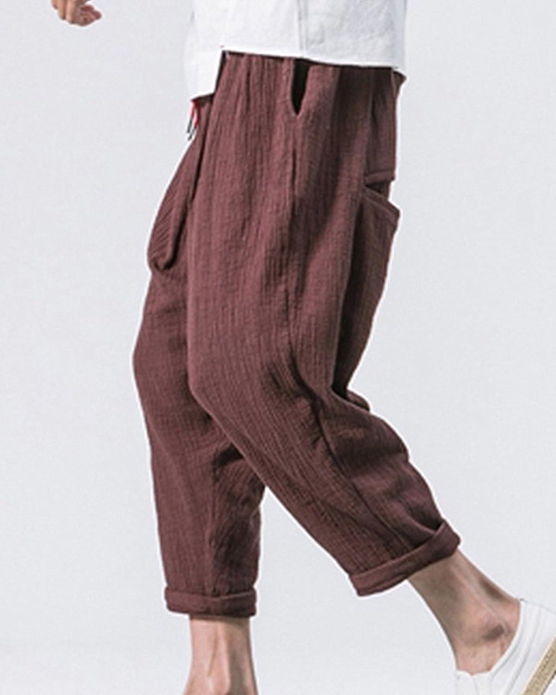 ShiFan Hombre Baggy Harem Estampados Pantalones De Lino Ropa Informal bONWH1AdcD
