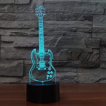Lámparas 3D, guitarra eléctrica, 7 colores, interruptor táctil/control remoto, luz de cumpleaños para bebés, cable plano de acrílico y USB y batería AA: Amazon.es: Iluminación