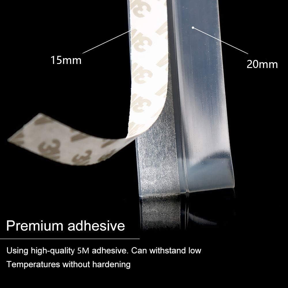 sello de puerta autoadhesivo tiras de sellado autoadhesivas protecci/ón contra el polvo 2.5x1000CM puerta de tiras de sellado Gwolf Cinta de sellado de silicona transparente a prueba de viento