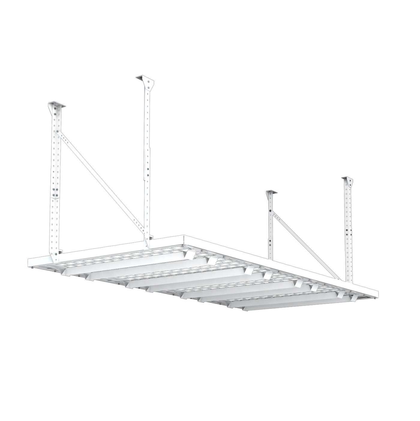 HyLoft 164 96-Inch by 48-Inch Super Pro Ceiling Mount Shelf, White Knape & Vogt 00164