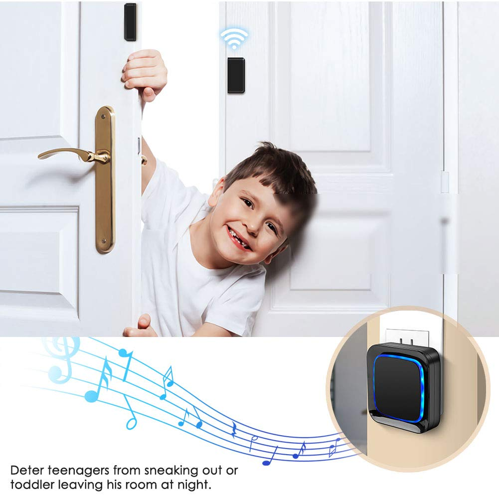 Black Coolqiya Wireless Entry Bell Alert 600FT Operating Range With 4 Volume Levels 1 Plug-in Receiver Door Sensor Chime Alarm System for Home Security 2 Door Sensors