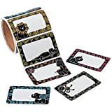 """1 Roll ~ Chalkboard Safari Animal Name Tag Stickers / Nametags / Labels ~ 100 Stickers Total ~ Size: 3 1/2"""" x 2 1/4"""" ~ New / Shrink-wrapped"""