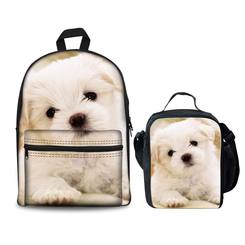 8a0761a4f2ae HUGS IDEA Cute Puppy Printed Children School Backpack Set Girls Bookbags  and Lunchbox Bichon Frise