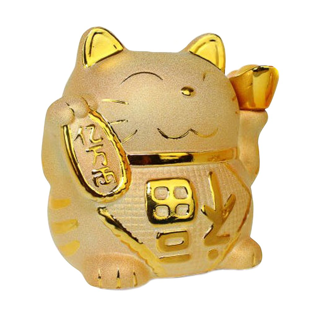 Golden Ceramic Maneki Neko Charm Collectible Figurine Coin Bank Size 7