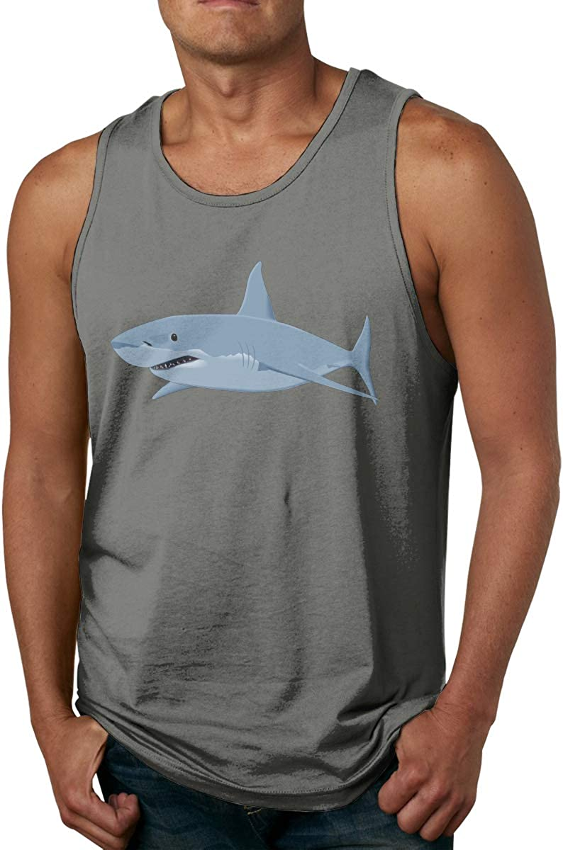 Men's Shark_PNG_Clipart_Image-450 Classic Tank Top Comfortable Cotton Gym Sleeveless Vest Shirt Deep Heather