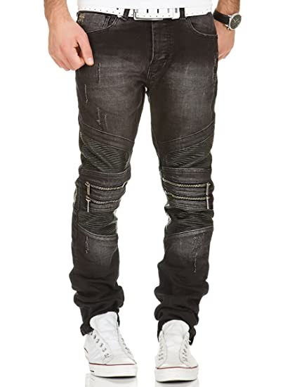 6a6cc5f93bce59 Redbridge Men's Denim Jeans Black Line Destroyed Zipper Stretch Mode Pants:  Amazon.co.uk: Clothing